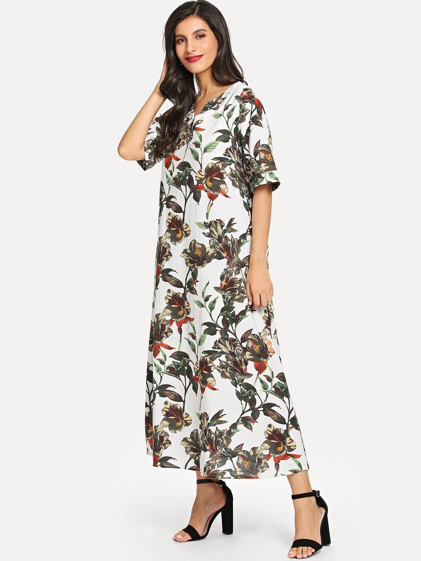 Купить Длинное платье с v воротником в цветочек, Jeane, SheIn