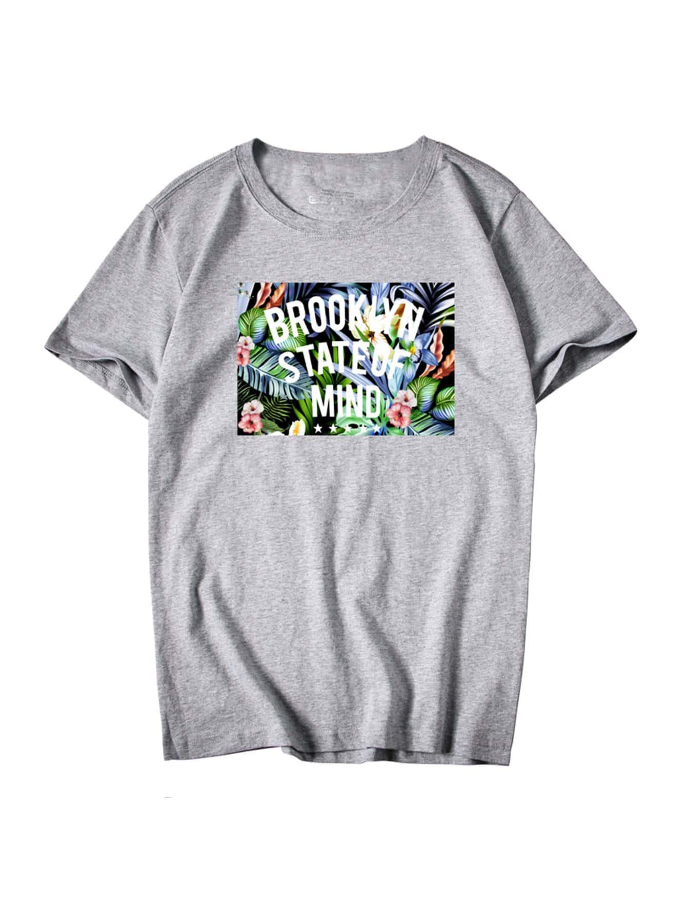 Купить Ситцевая футболка и с рисунками буквы для мужчины, null, SheIn
