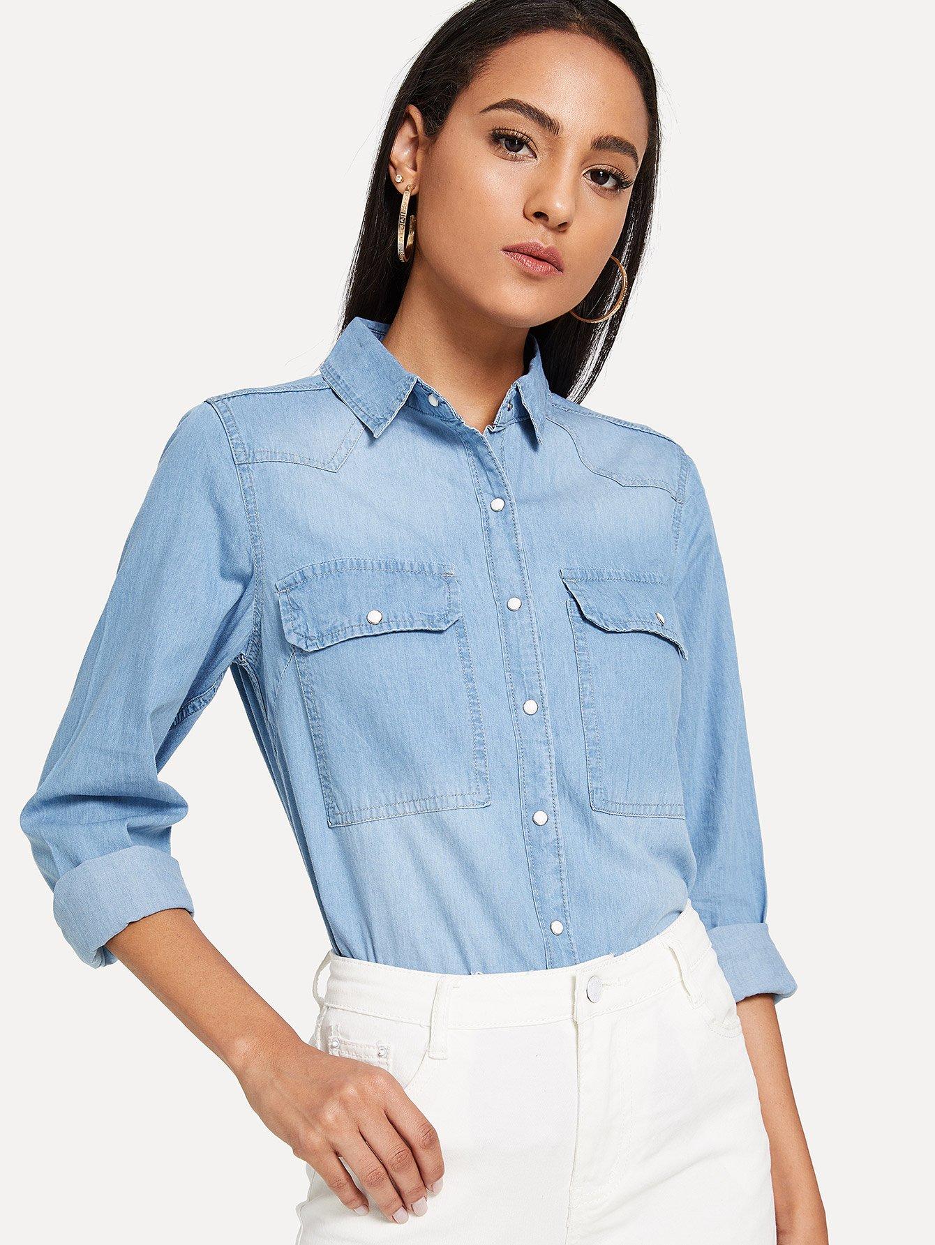 Джинсовая рубашка с двумя кармана