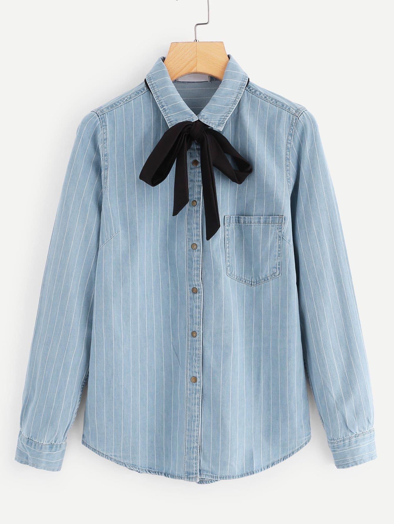 Тонкая полосатая джинсовая рубашка с поясом