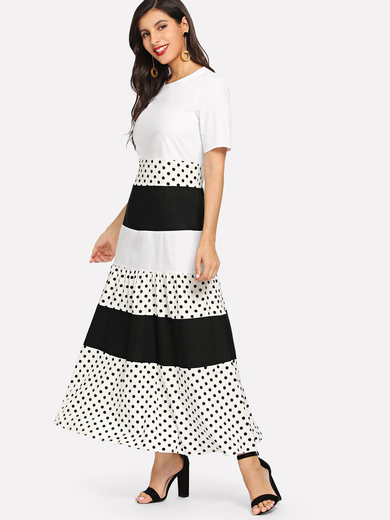 Купить Кусковое полосатое платье с рисунками точки, Jeane, SheIn