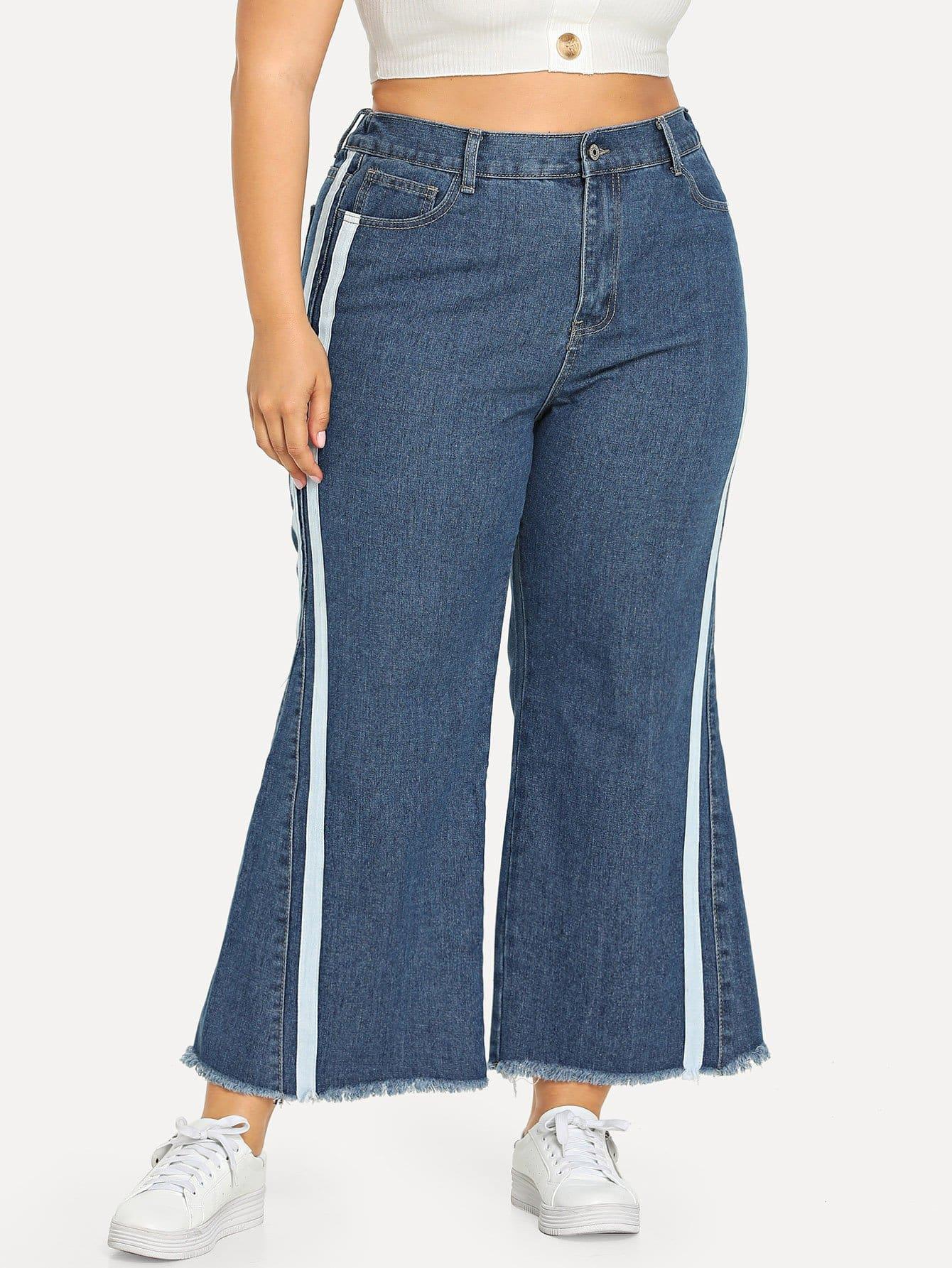 Plus Stripe Contrast Side Flare Leg Jeans