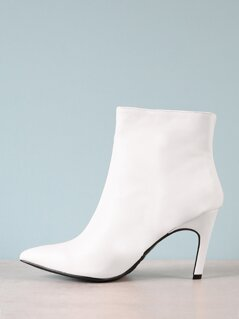 Pointed Crinkled Faux Leather Ankle Boots