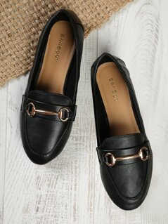 Faux Leather Buckle Detail Loafers