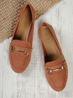 Faux Suede Buckle Detail Loafers