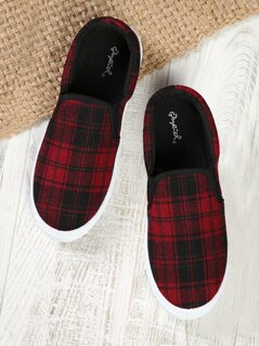 Plaid Slip On Sneakers