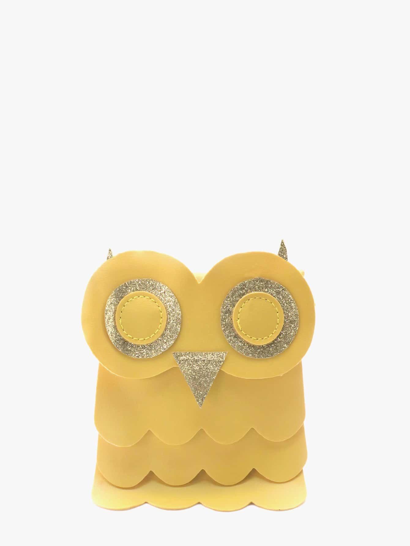 Girls Scalloped Trim Owl Crossbody Bag