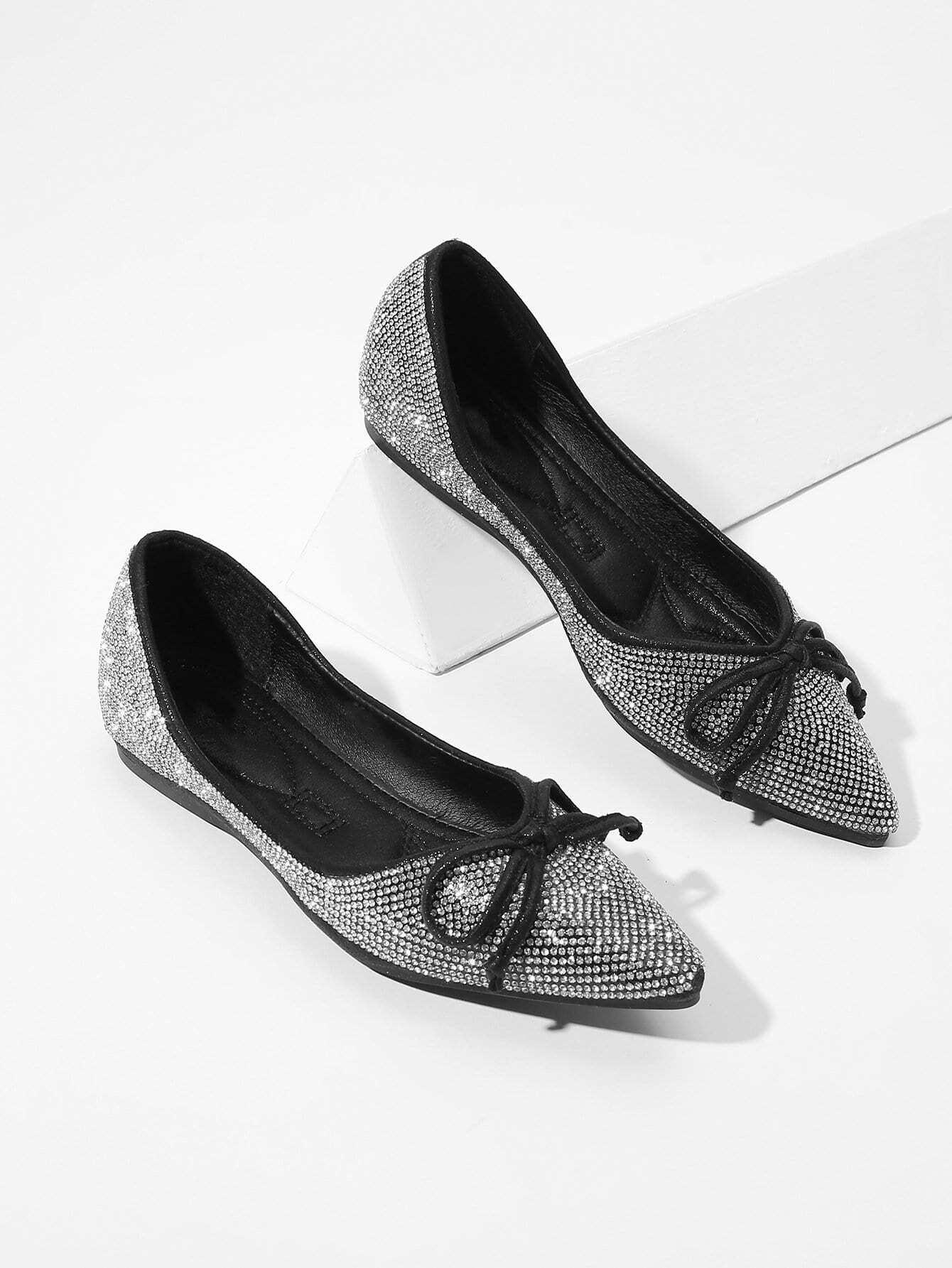 Купить Туфли на плоской подошве с украшением бриллиантов и бабочки, null, SheIn