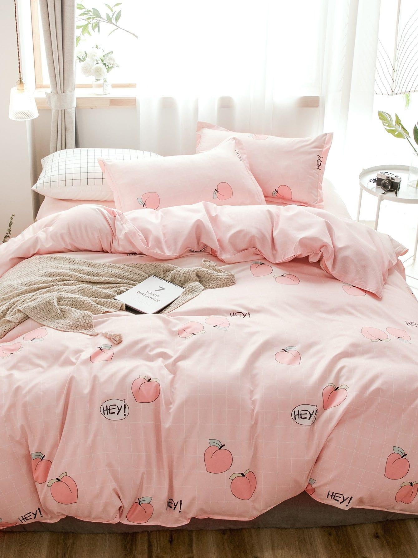 Купить Бархатное постельное бельё в клетку и с рисунками персиков 1 шт, null, SheIn
