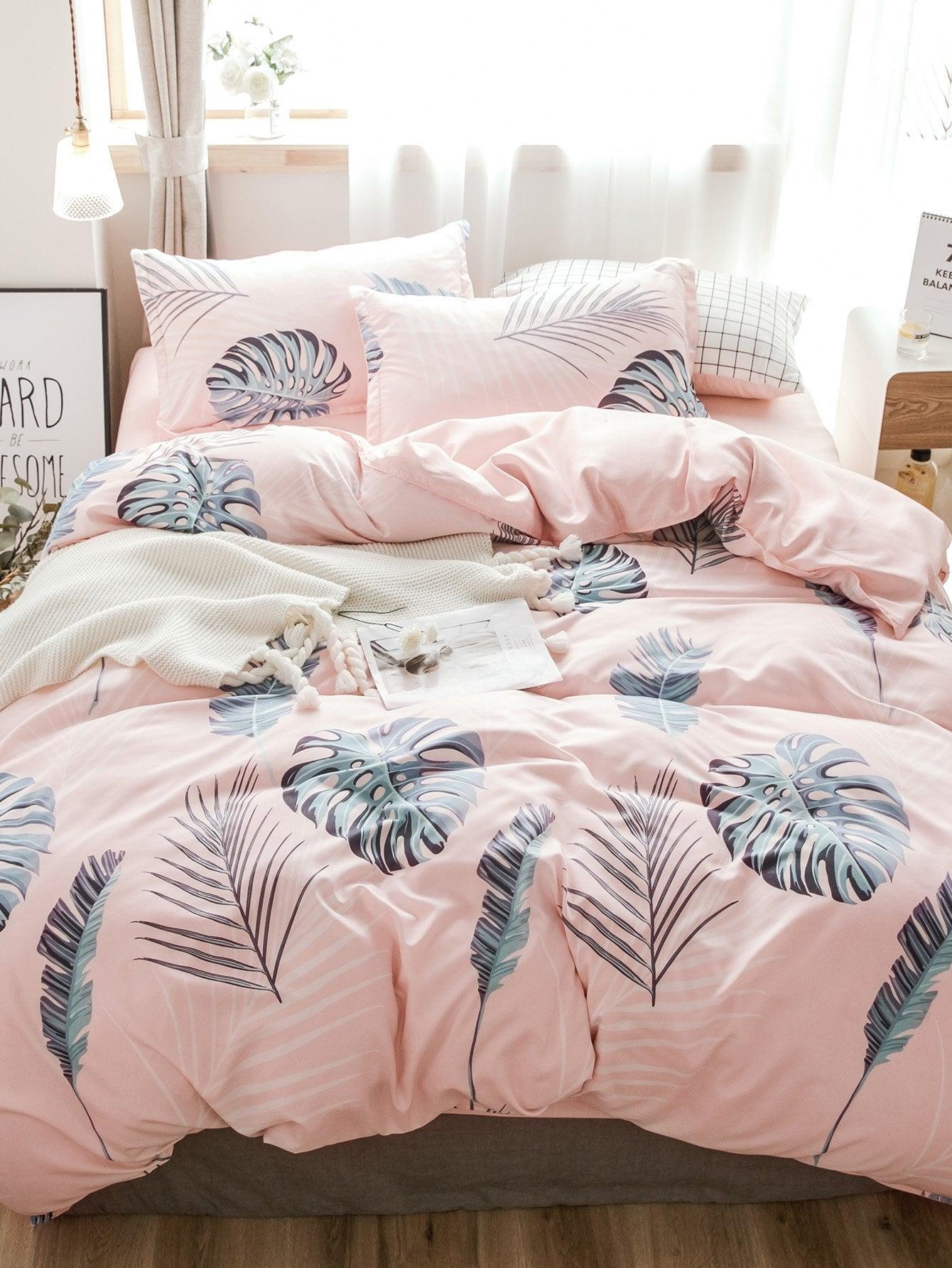 Купить Бархатное постельное бельё с рисунками листьев 1 шт, null, SheIn
