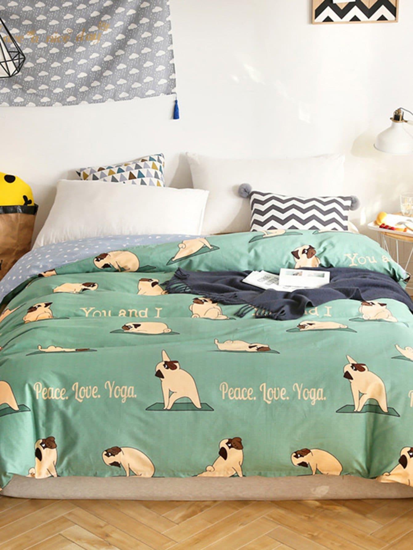 Купить Бархатное постельное бельё с рисунками собаки и буквы 1 шт, null, SheIn