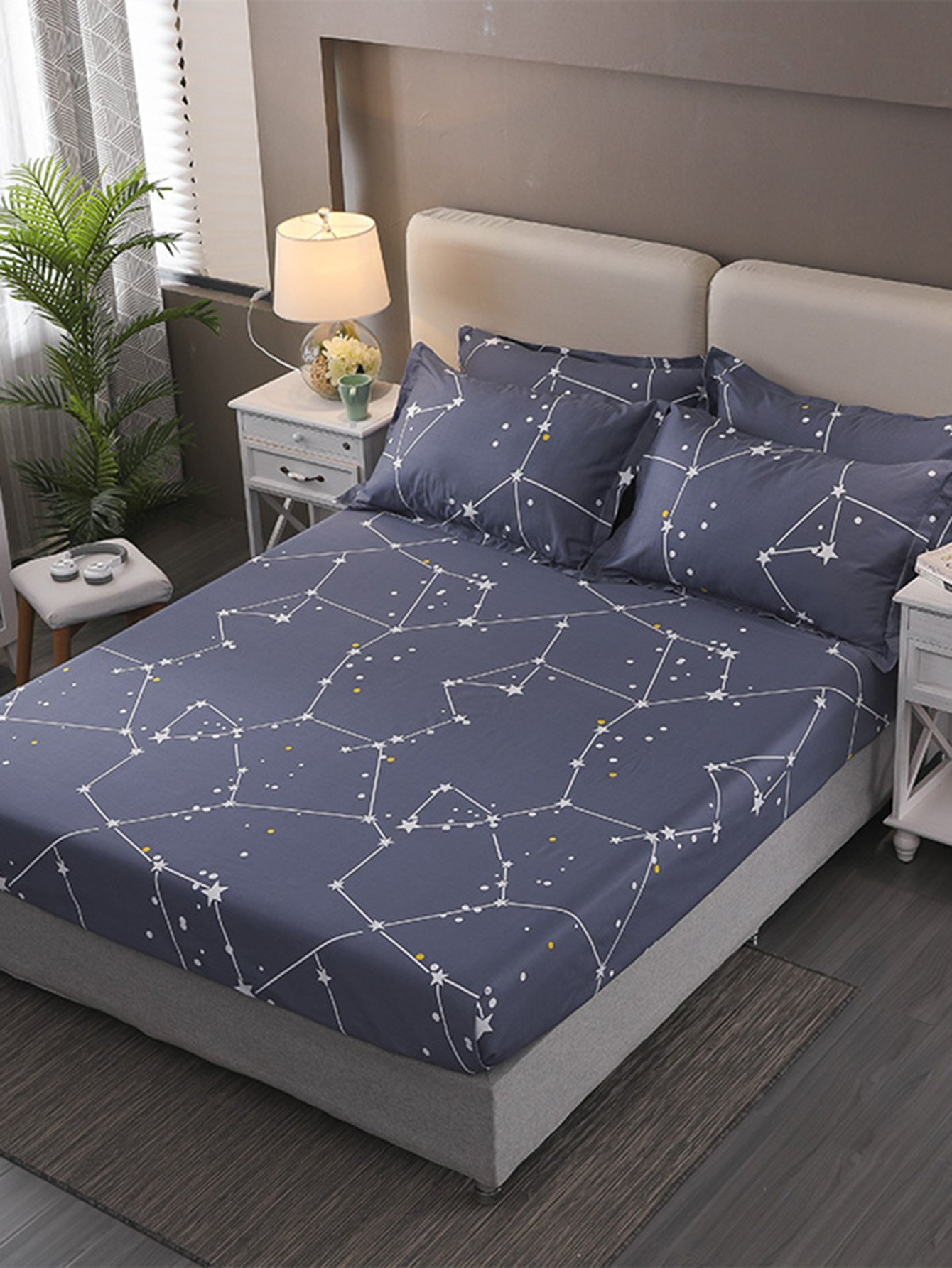 Купить Ситцевое постельное бельё с рисунками звёзд 1 шт, null, SheIn