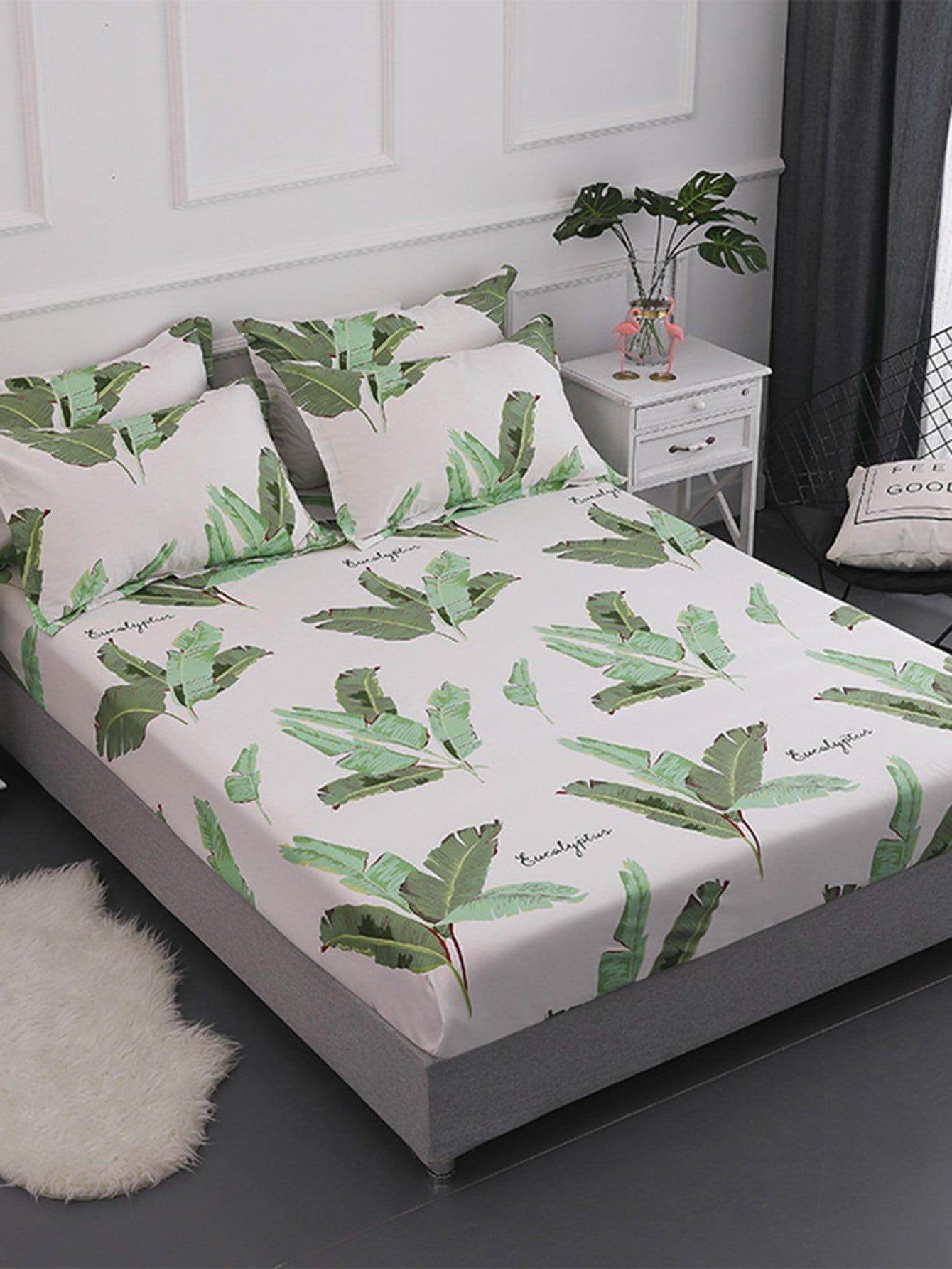 Купить Ситцевое постельное бельё с рисунками листьев 1 шт, null, SheIn