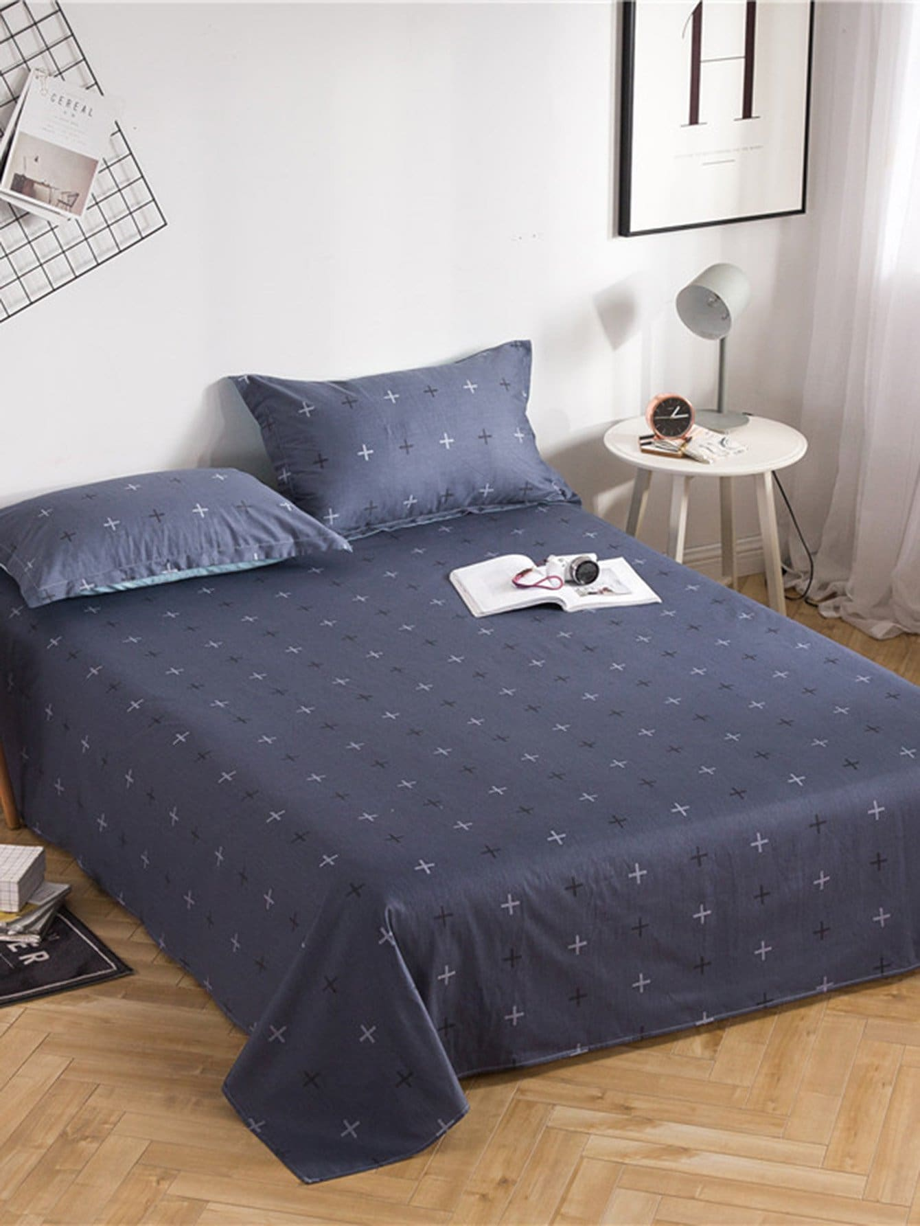 Купить Плоское постельное бельё с рисунками крестов 1 шт, null, SheIn