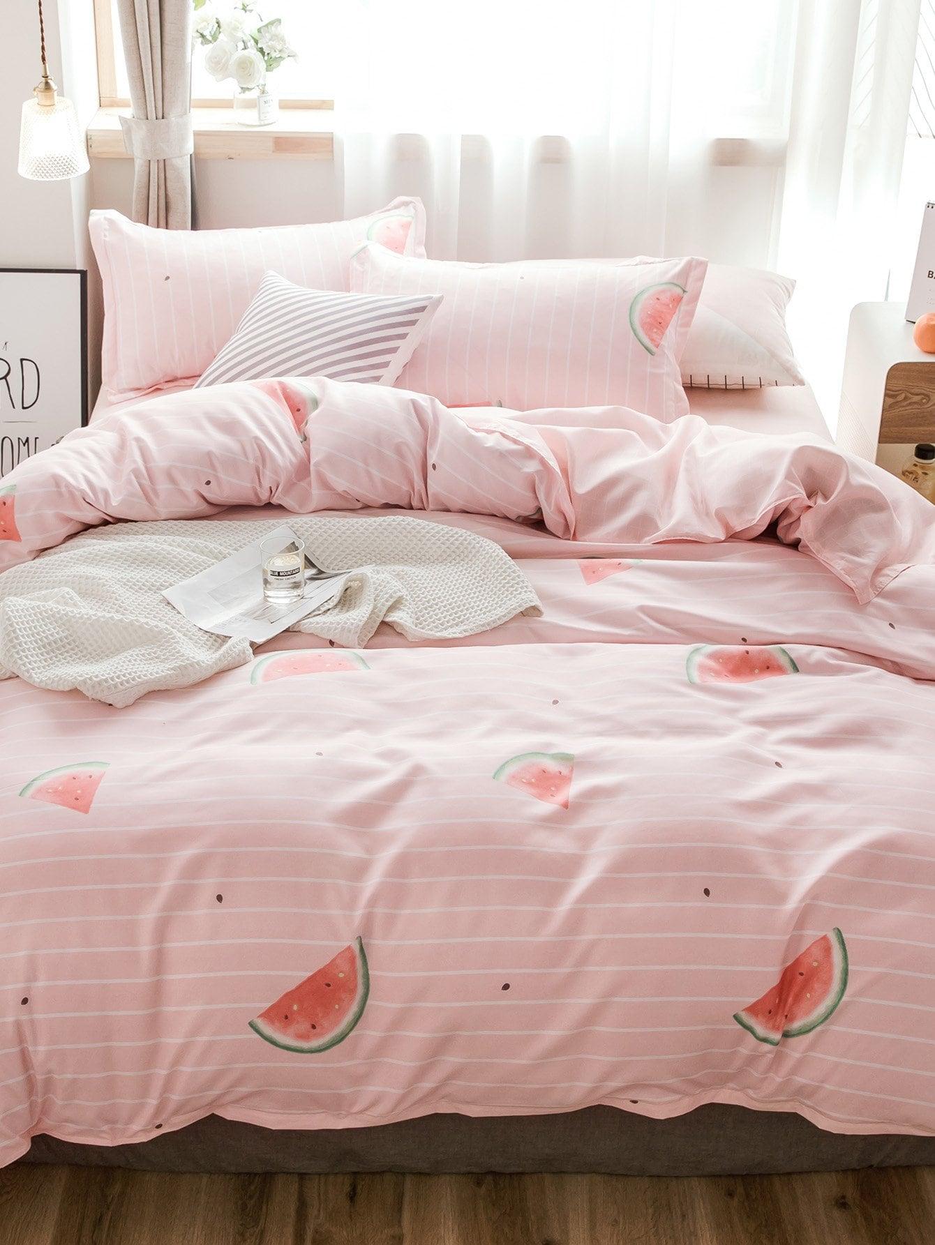 Комплект полосатого постельного белья с рисунками арбузоя, null, SheIn  - купить со скидкой