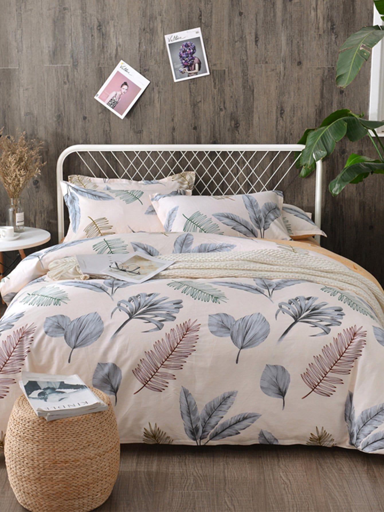 Купить Комплект постельного белья с рисунками листьев, null, SheIn