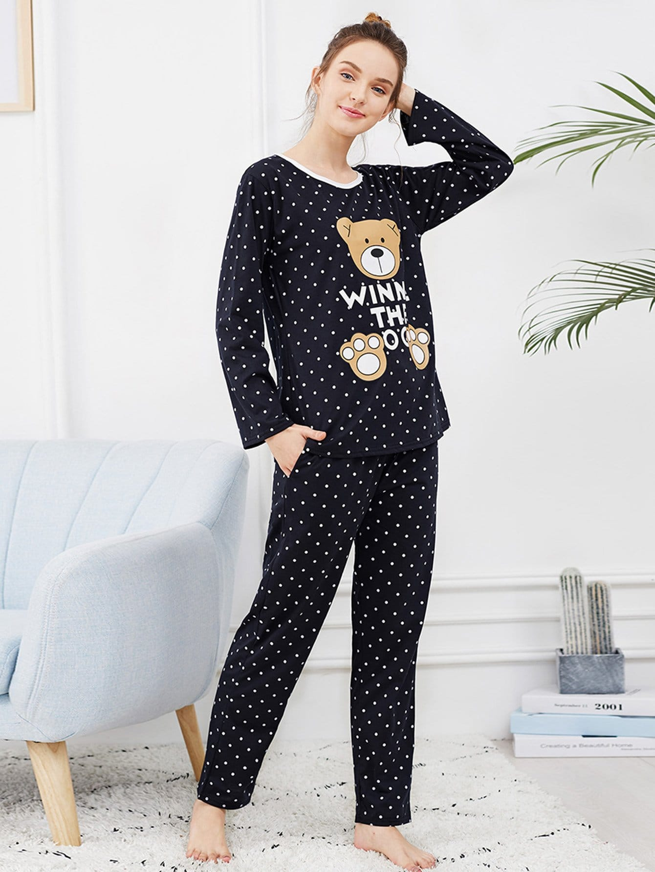 Bear Print Polka Dot Pajama Set