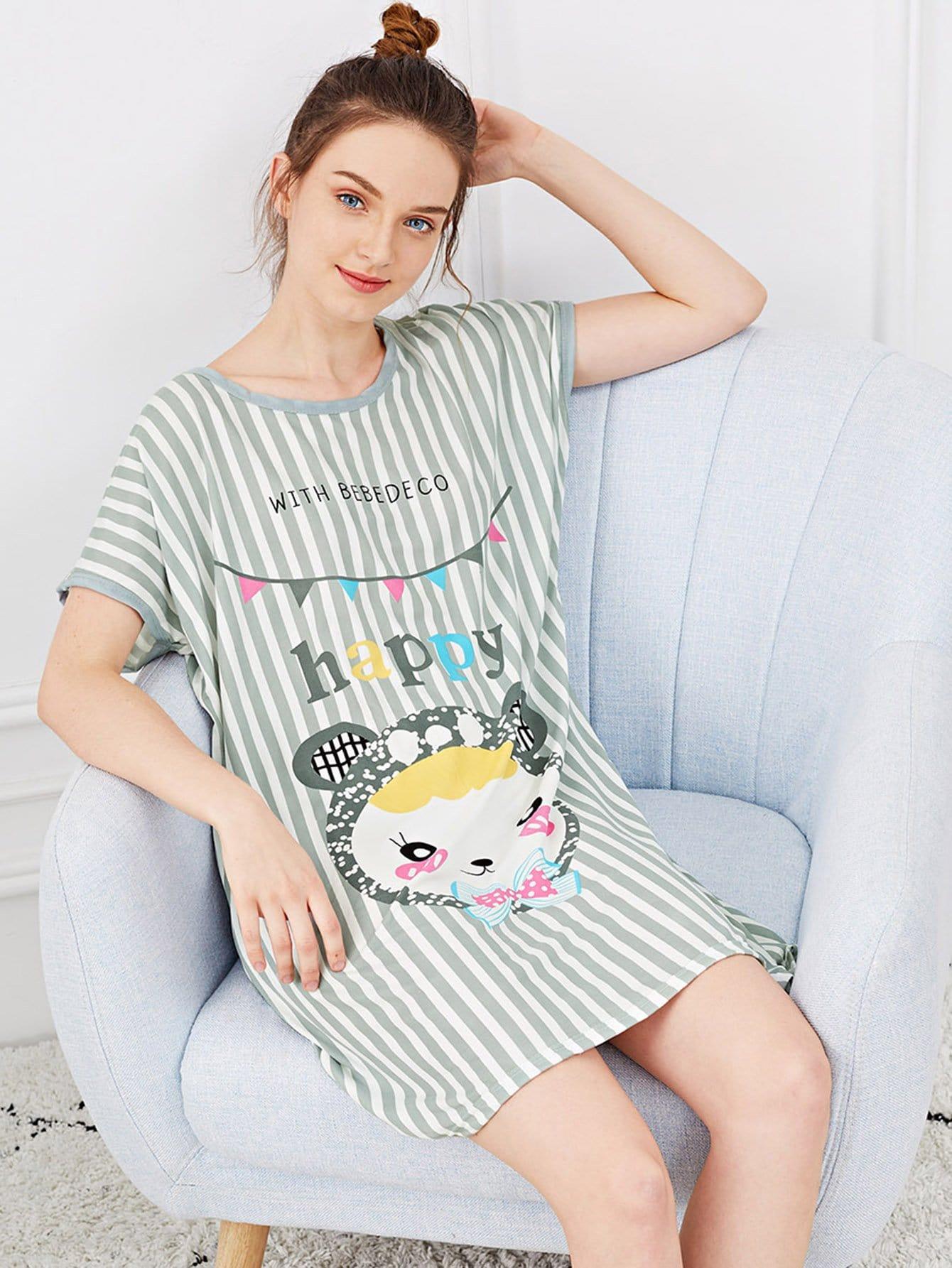Купить Полосатая ночная сорочка с рисунками мультипликаций, Tory, SheIn