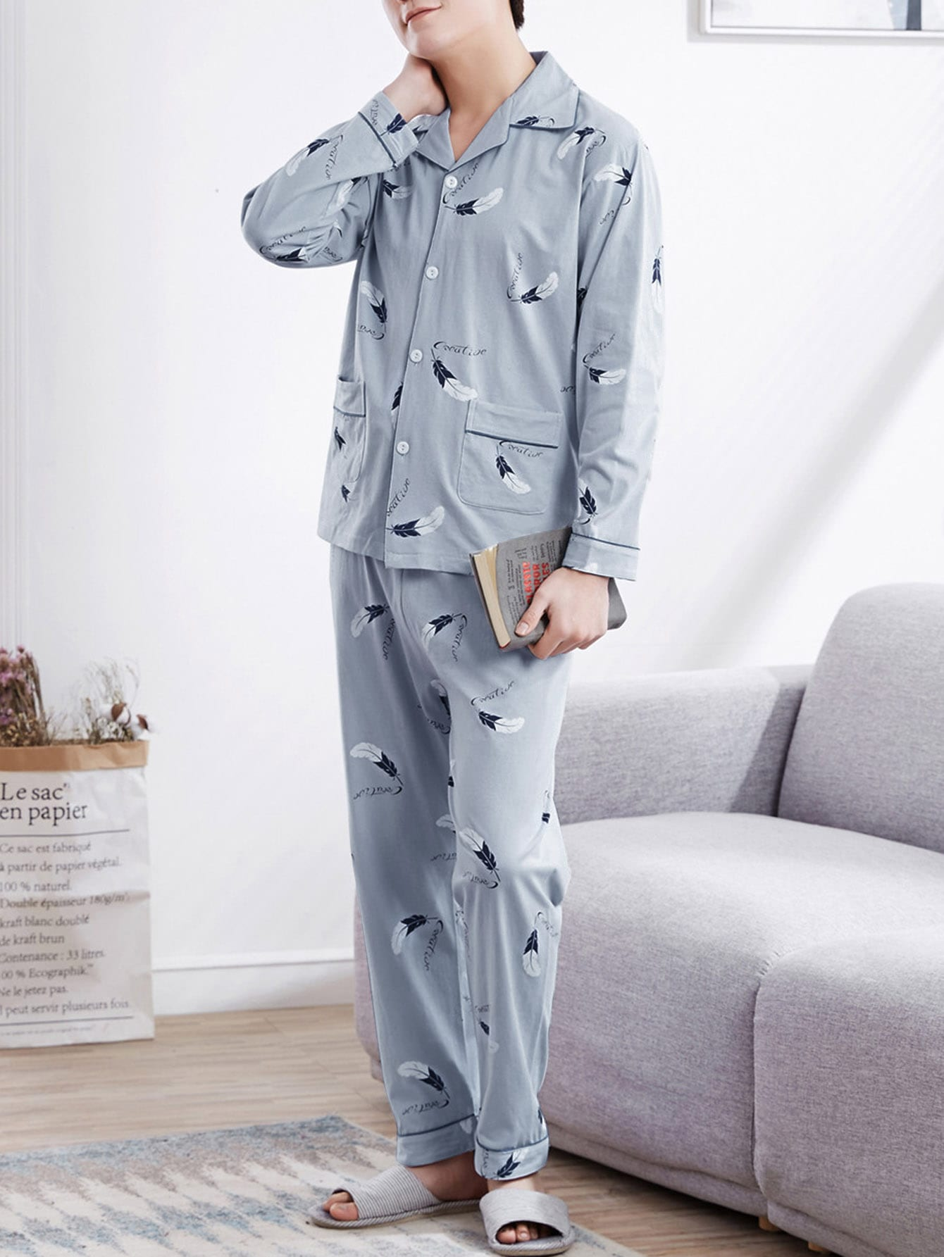 Men Feather Print Button Up Pajama Set