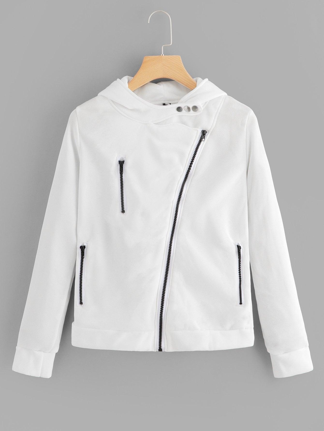 Button Detail Zip Up Jacket