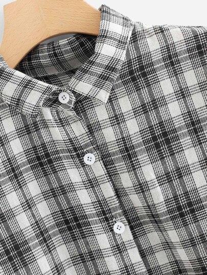 Romwe / Drop Shoulder Checked Shirt