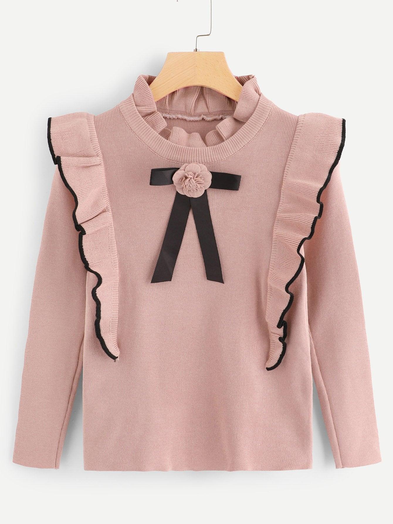 Ruffle Trim Floral Detail Sweater