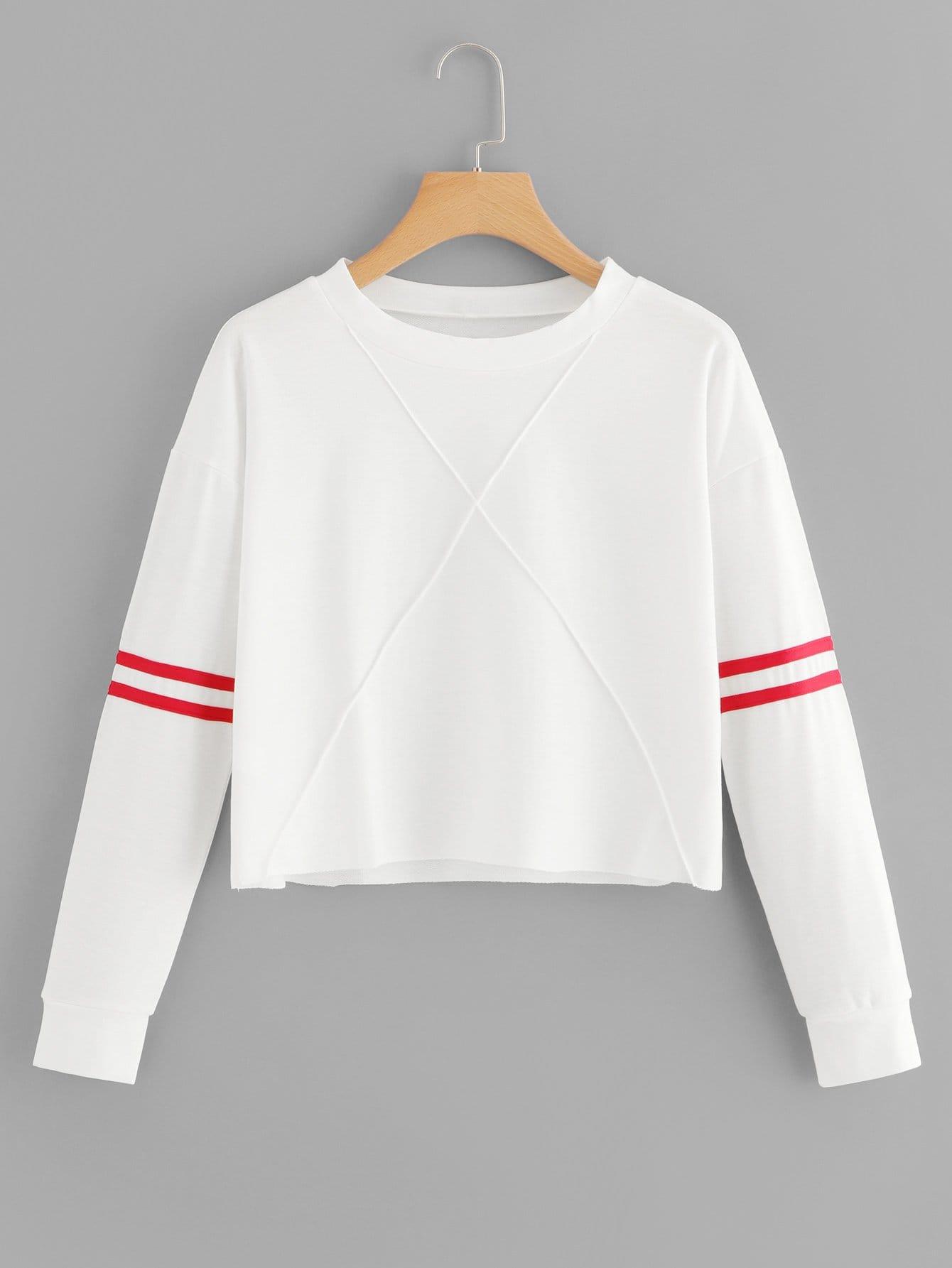 Sweatshirt mit Streifen auf den Ärmeln und Naht Detail
