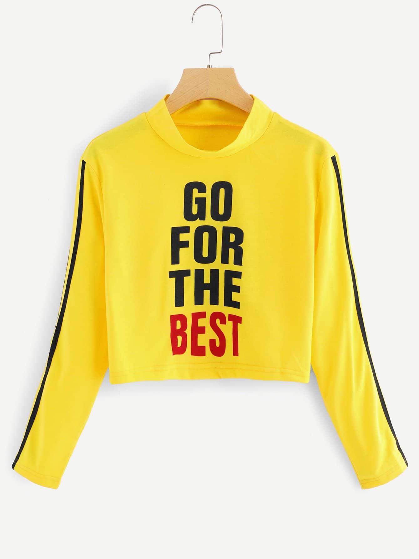 Sweatshirt mit Streifen Band auf den Ärmeln und Buchstaben Muster