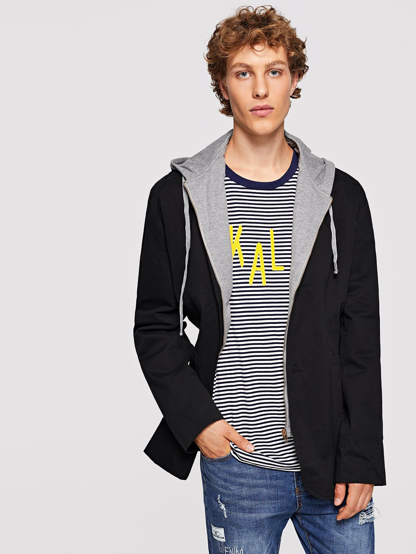 Men 2 In 1 Hooded Jacket