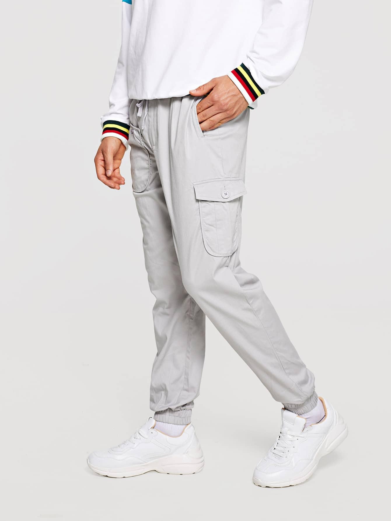 Men Pocket Decoration Plain Drawstring Pants