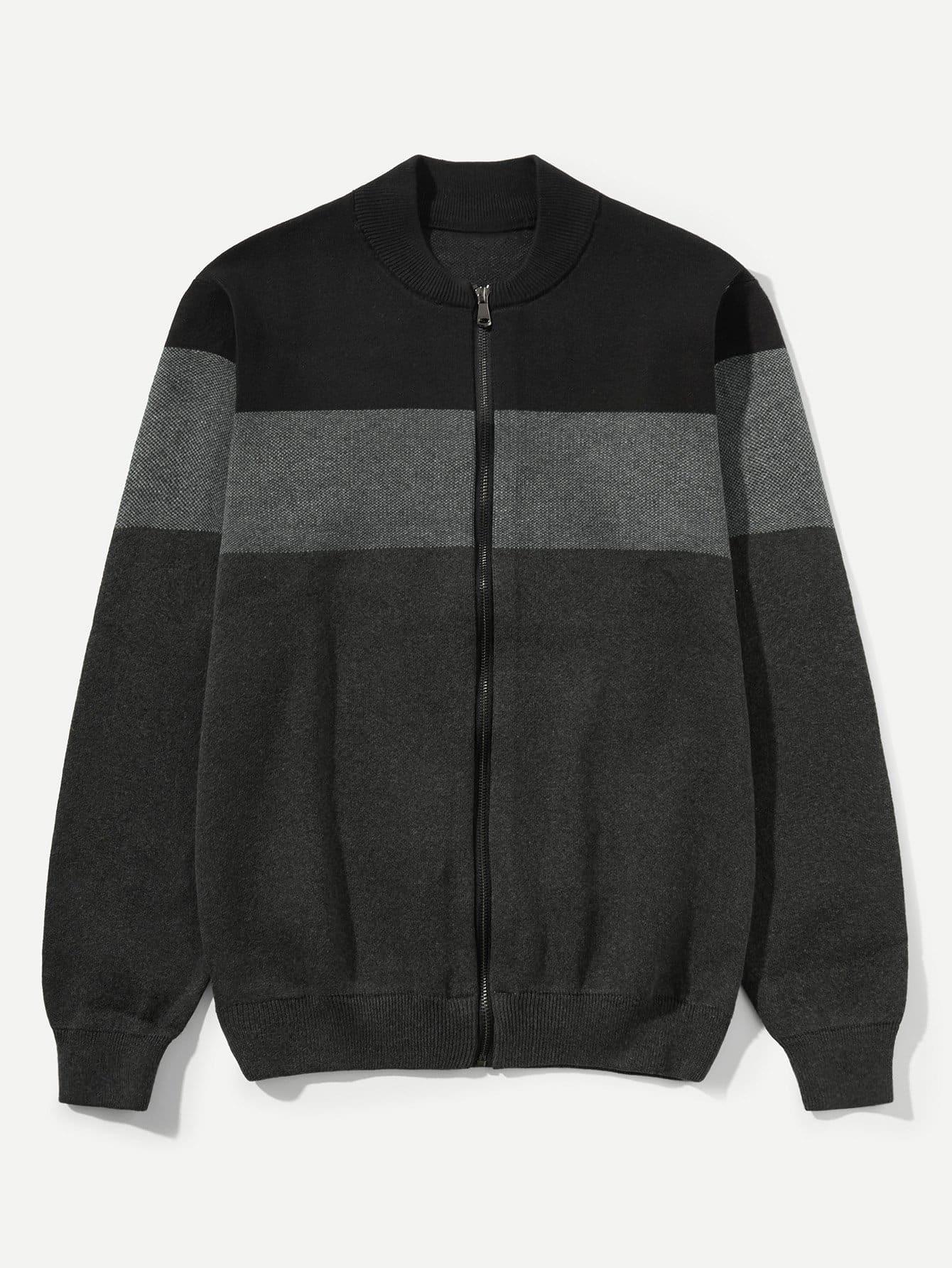 Männer Mantel mit Farbblock Muster