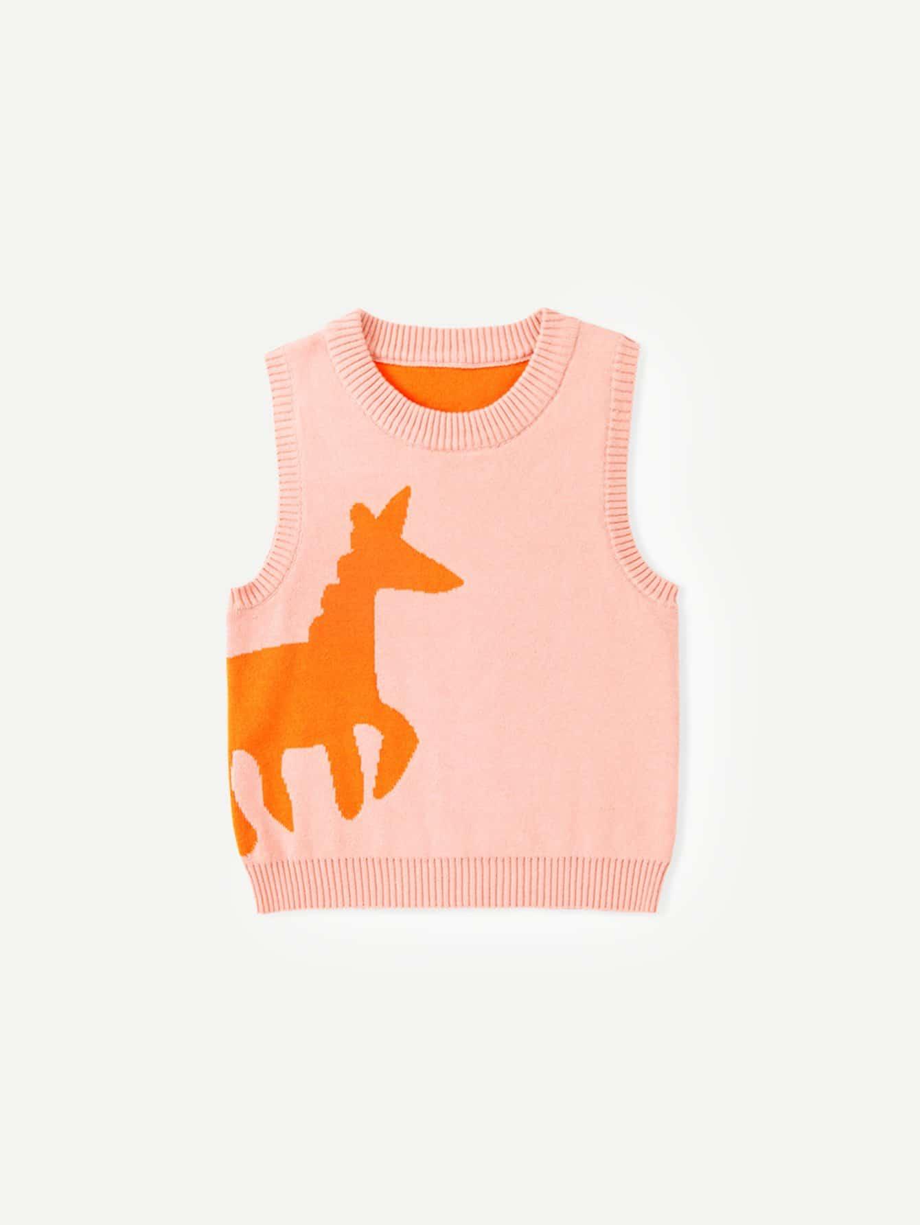 Girls Cartoon Pattern Sleeveless Jumper girls spot embroidered sleeveless jumper