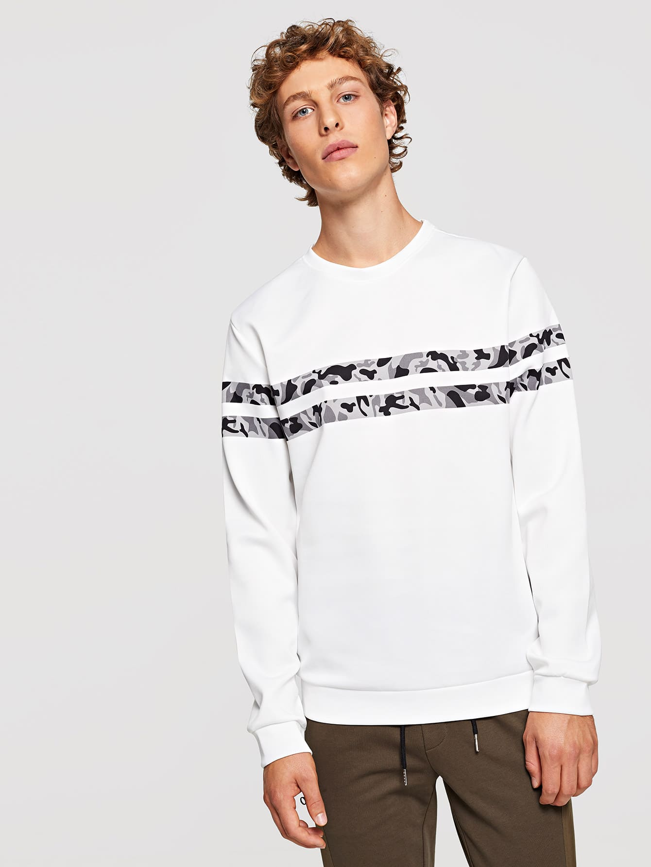 Men Camo Striped Sweatshirt