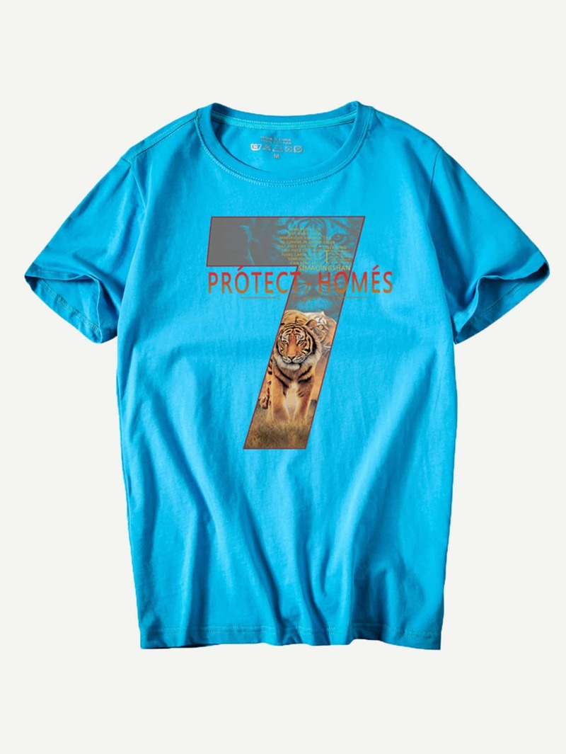 Men Tiger And Letter Print Tee, Blue