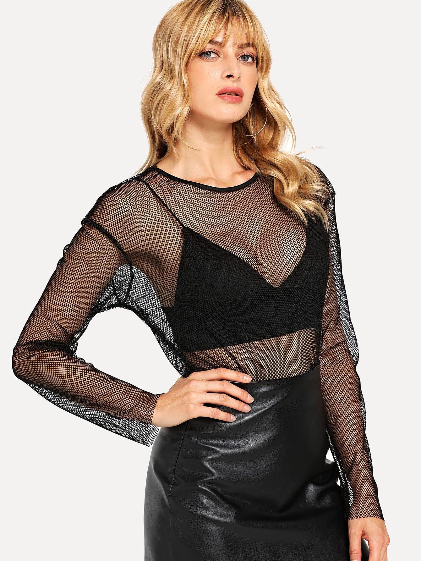 Купить Прозрачная кроп-блузка, Masha, SheIn