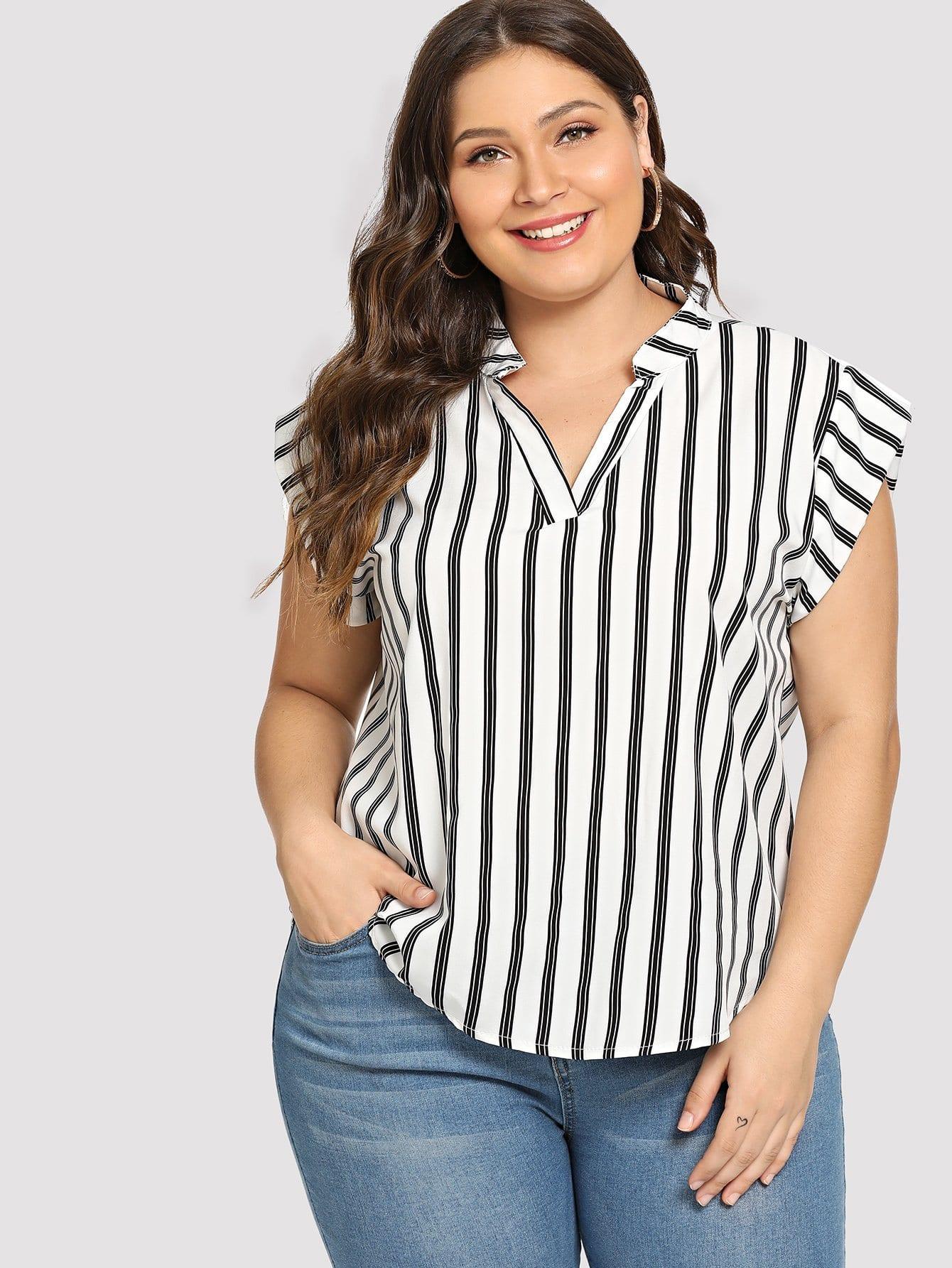 Plus Striped V Neck Asymmetrical Blouse