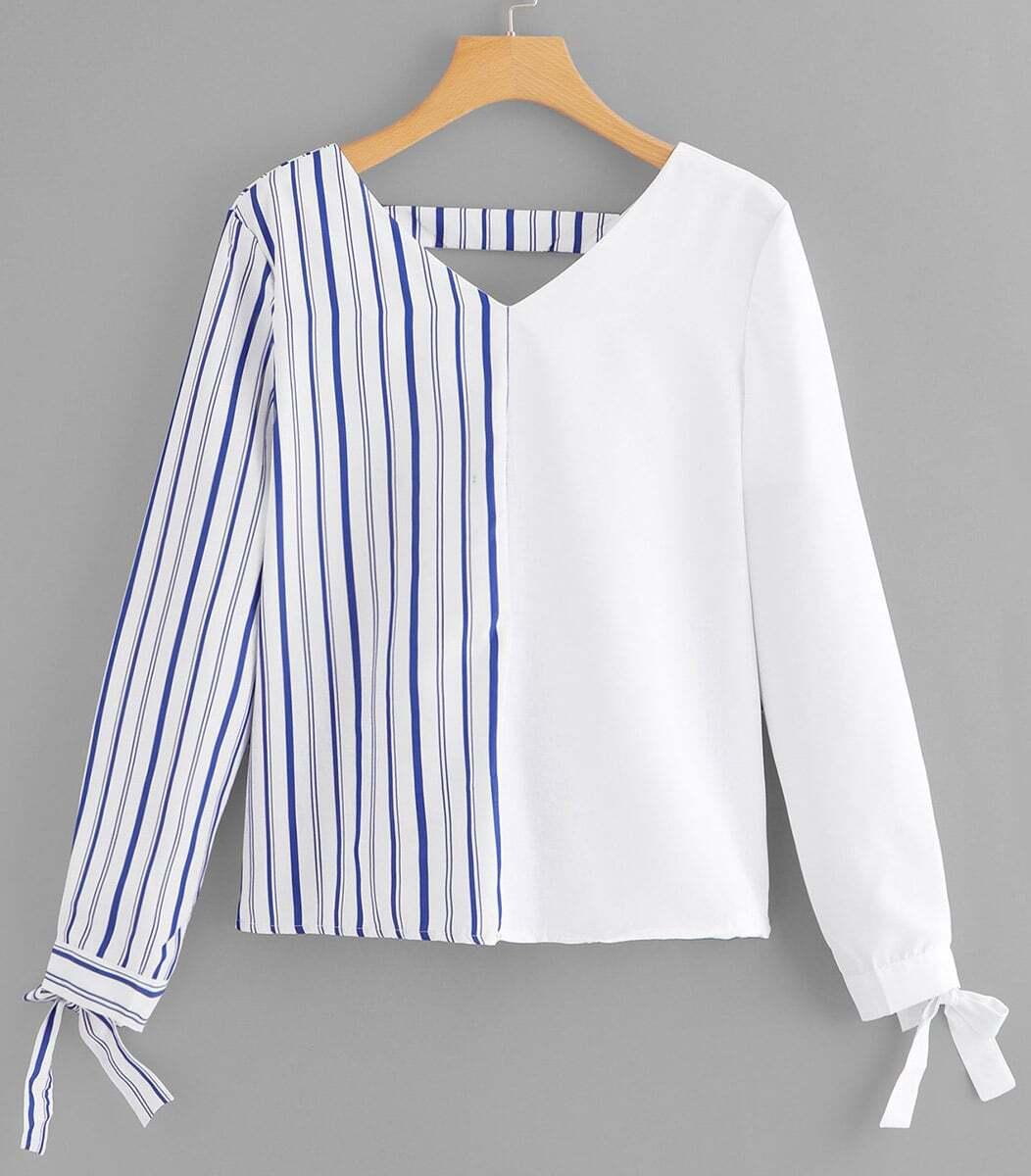 Bow Detail Cuff Striped Blouse