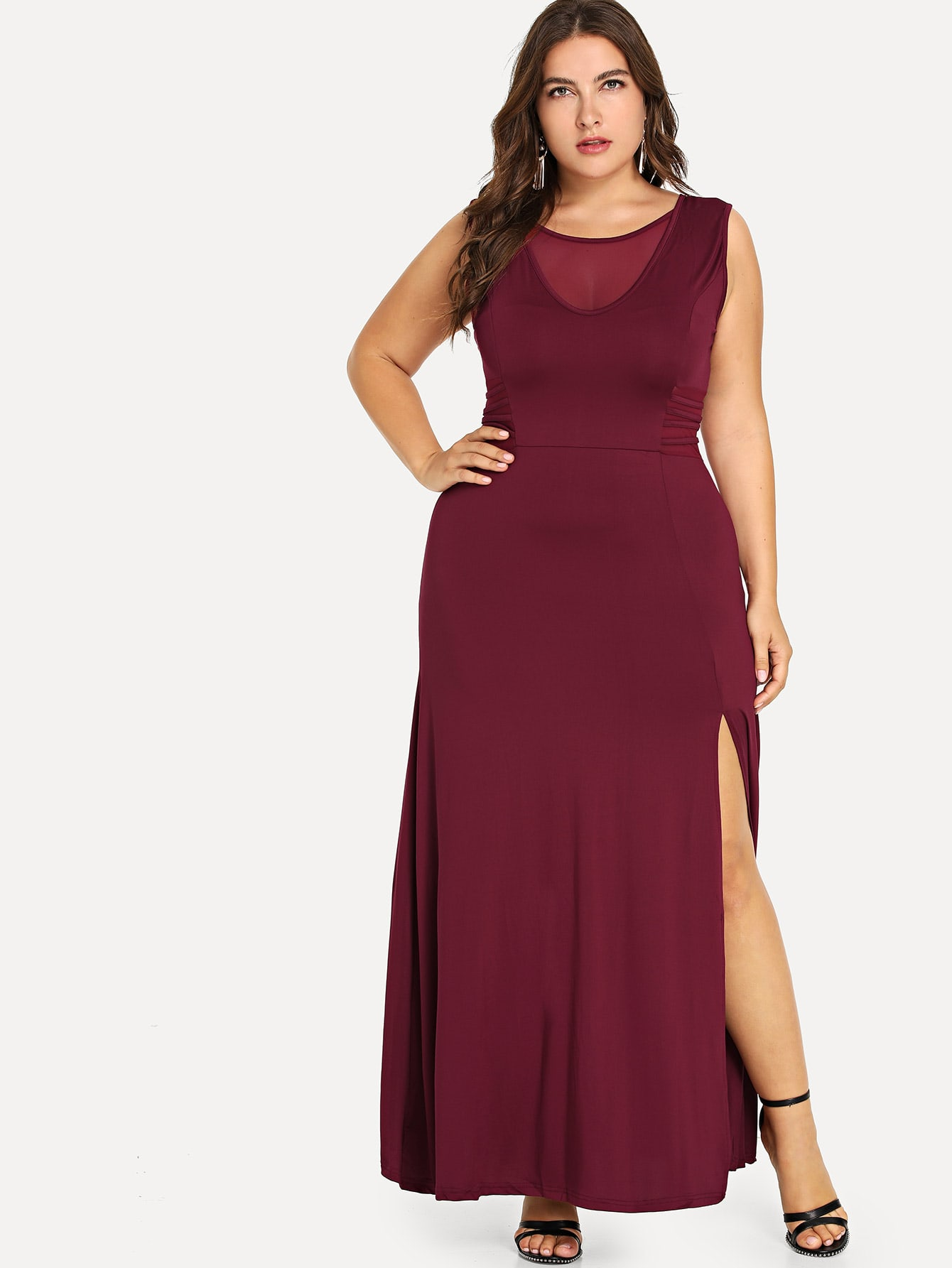 Plus Contrast Mesh Split Hem Dress