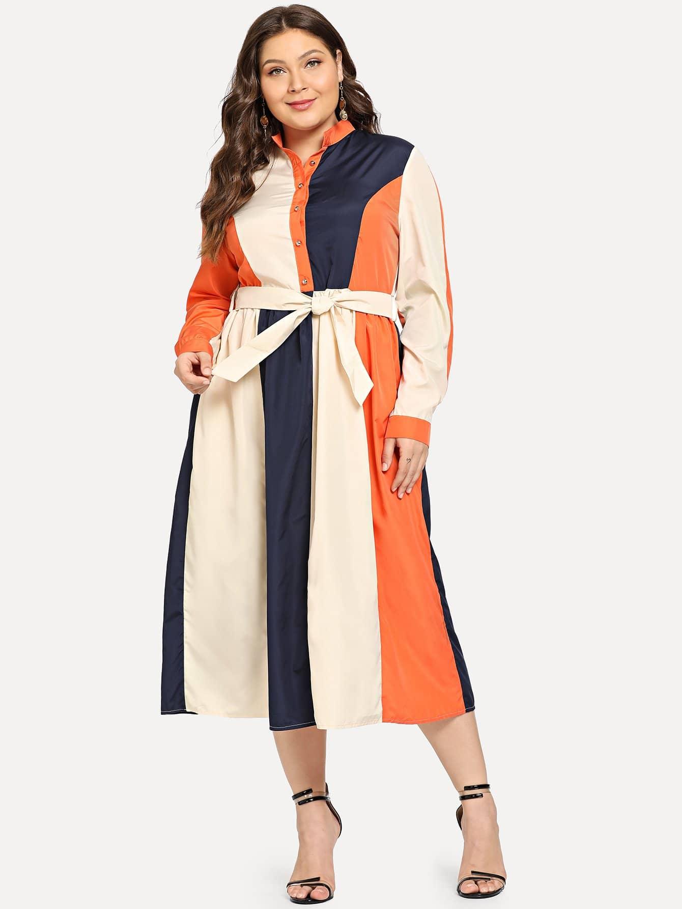 Купить Большое контрастное платье-рубашки с поясом, Carol, SheIn