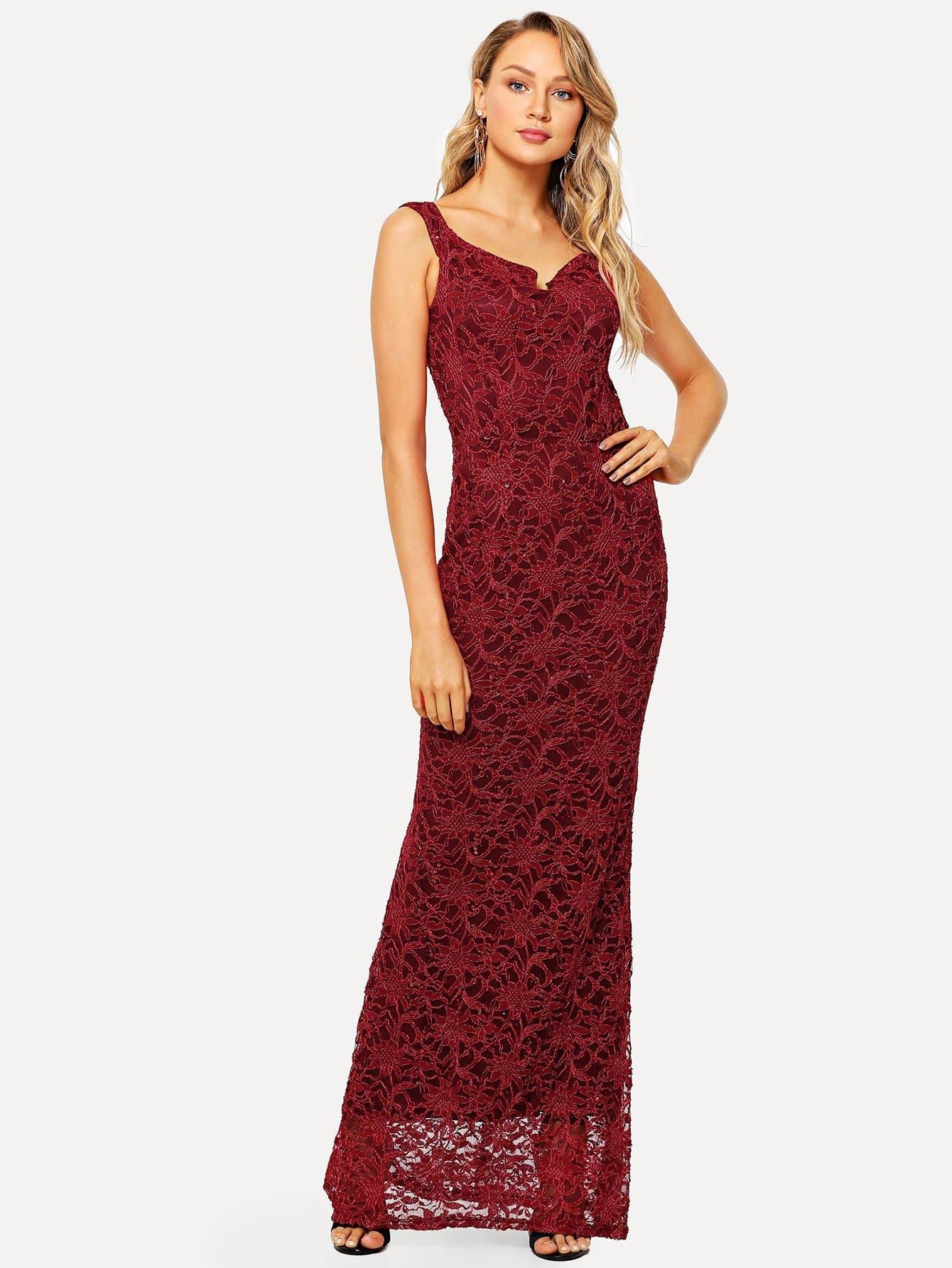 Купить Кружевное платье с застёжкой молния сзади одежды, Sasa, SheIn