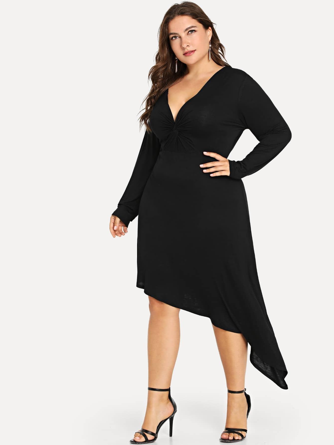 Купить Большое простое платье с V-образным воротником, Franziska, SheIn
