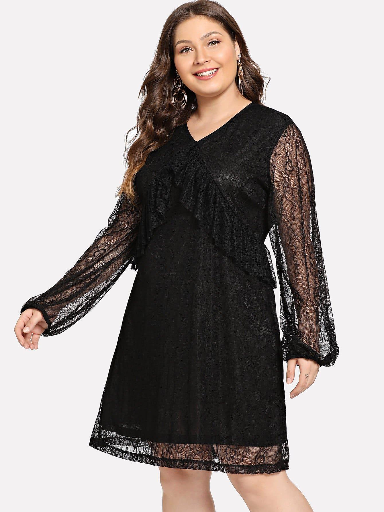Купить Большое простое платье со симметрическими кружевами, Carol, SheIn