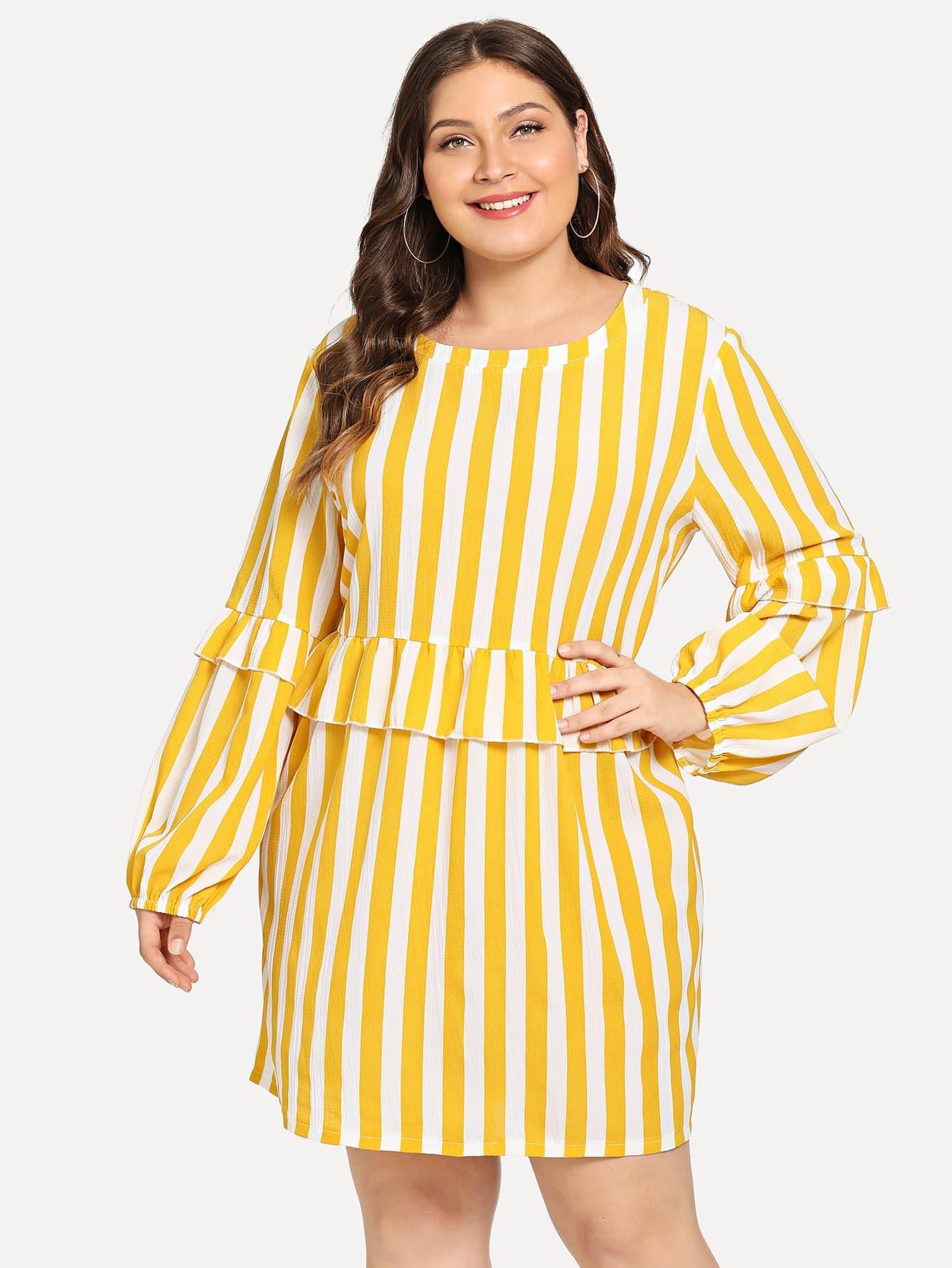 Plus Striped Ruffle Detail Dress