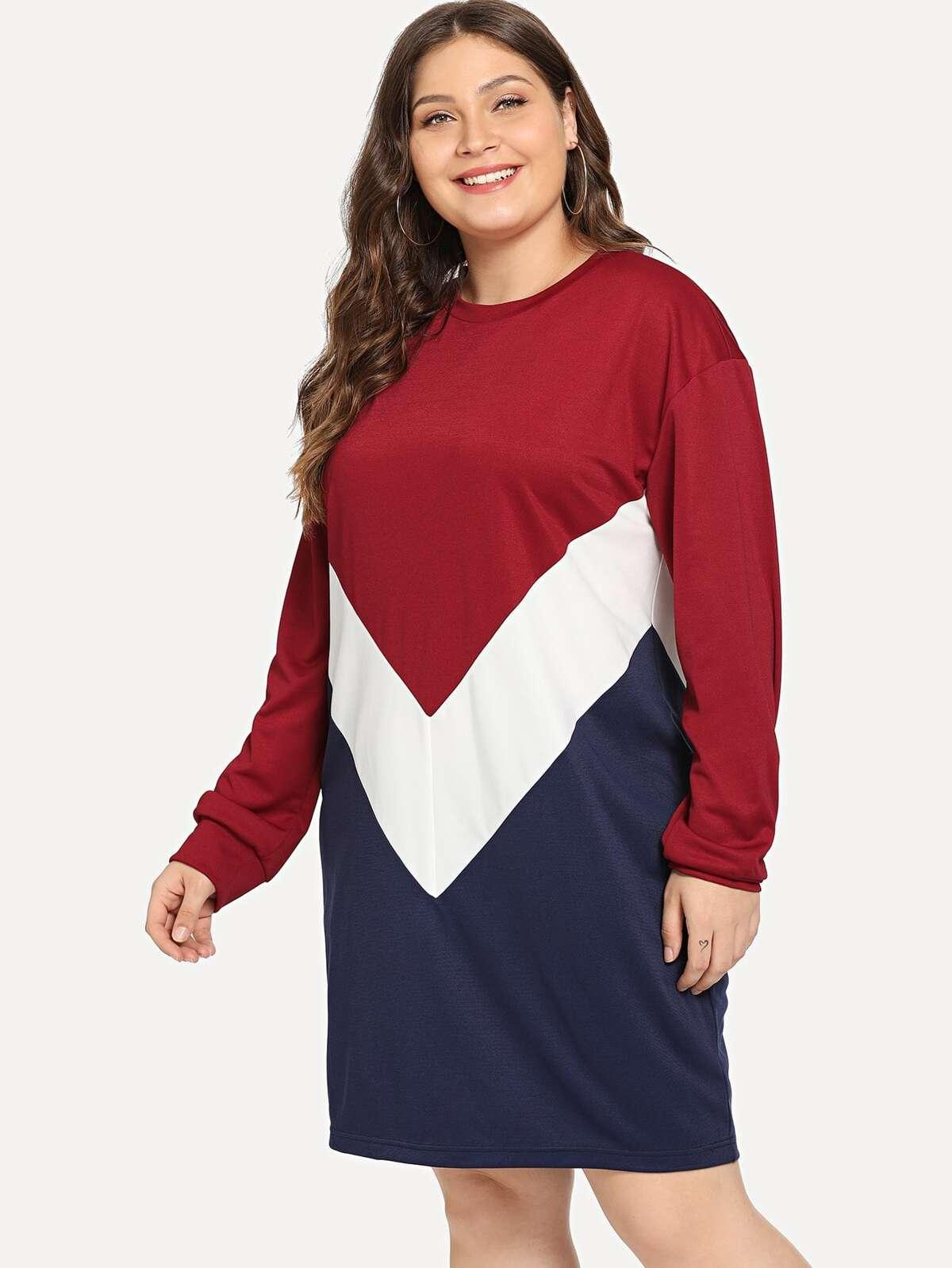 大尺碼 色塊 洋裝