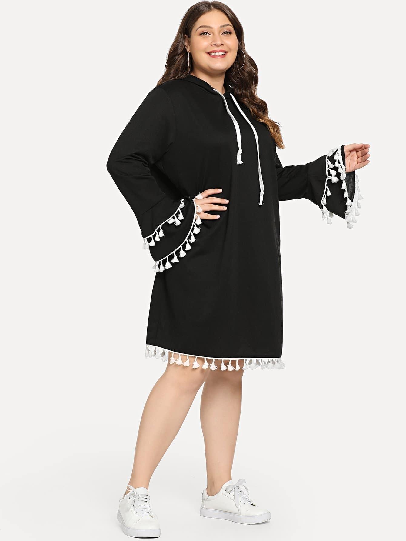 Plus Fringe Detail Hooded Dress