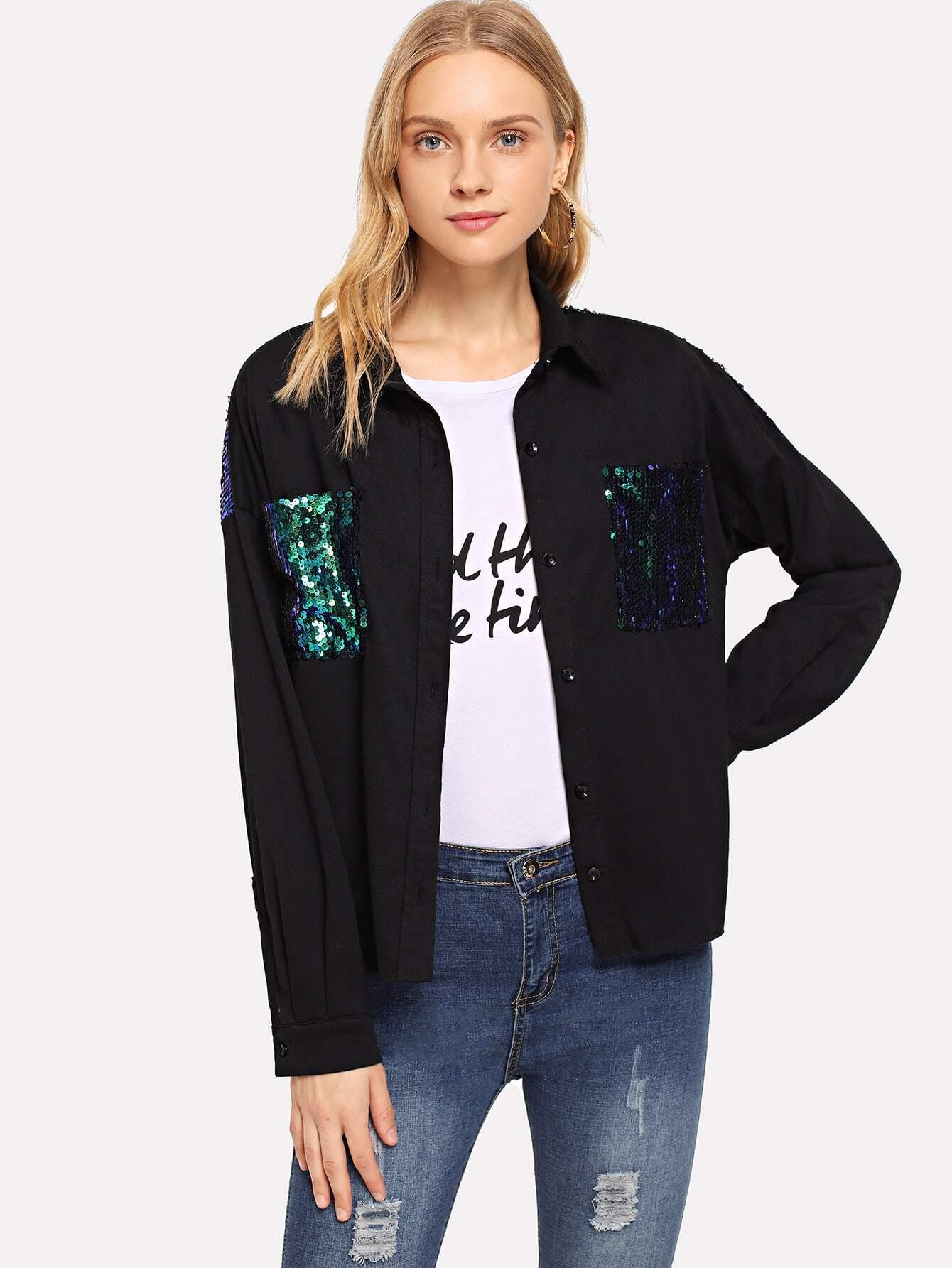 Single Breasted Contrast Sequin Pocket Jacket
