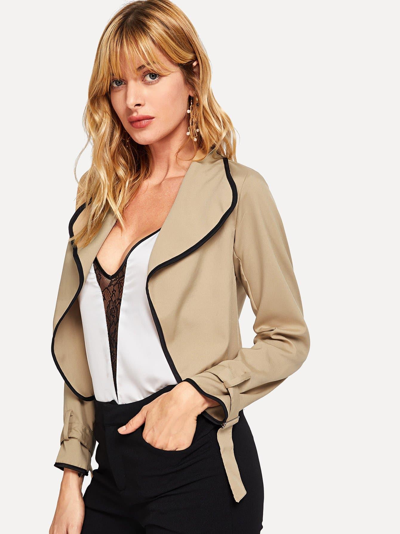 Купить Пальто со симметрическими оторочками, Masha, SheIn