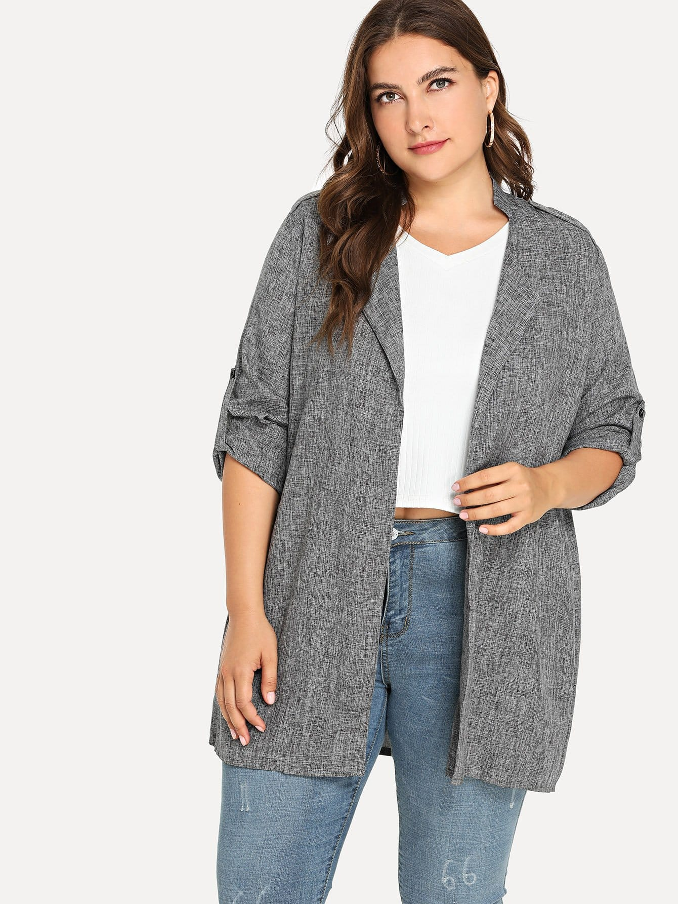 Plus Roll Up Sleeve Solid Coat