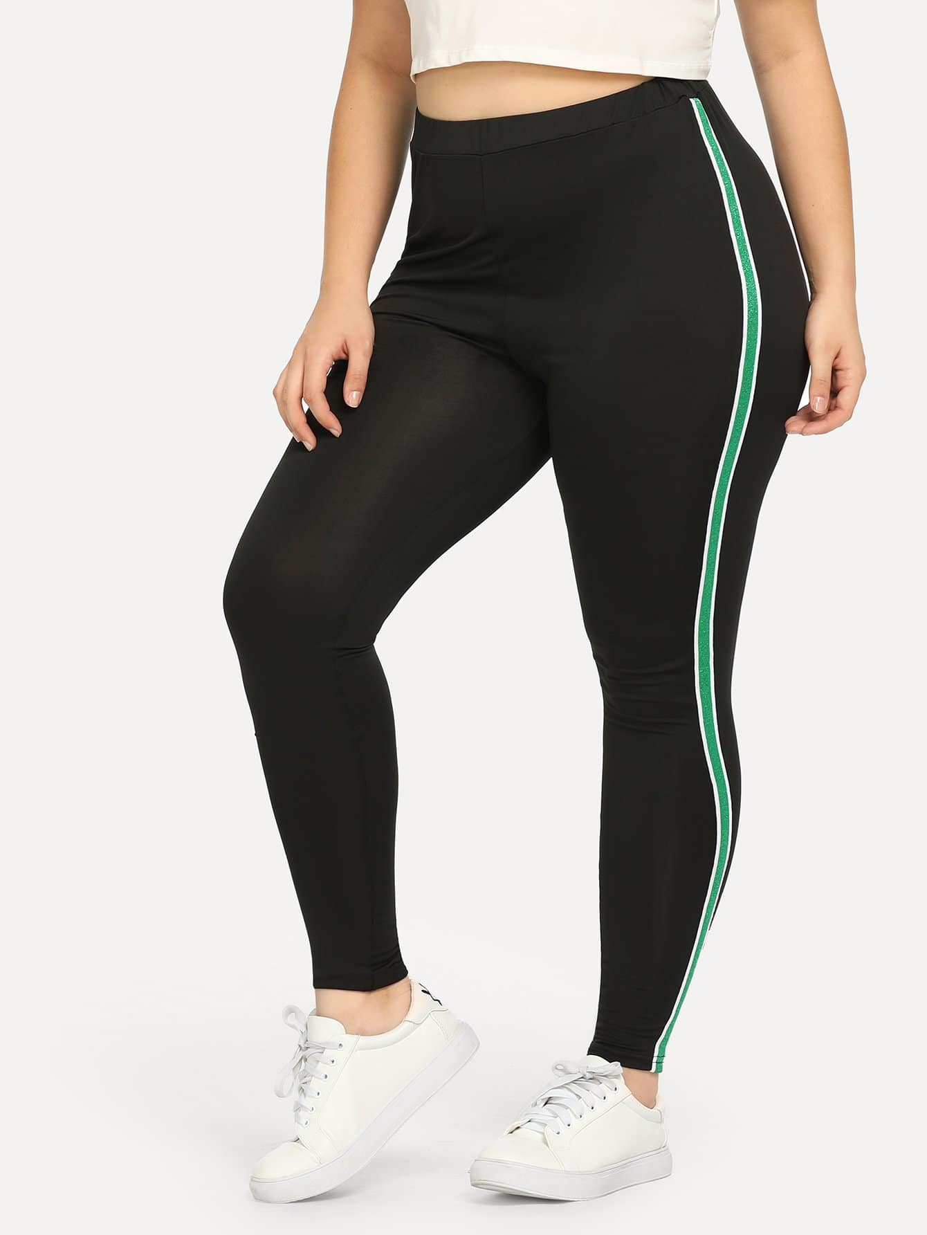 Plus Contrast Tape Side Skinny Pants