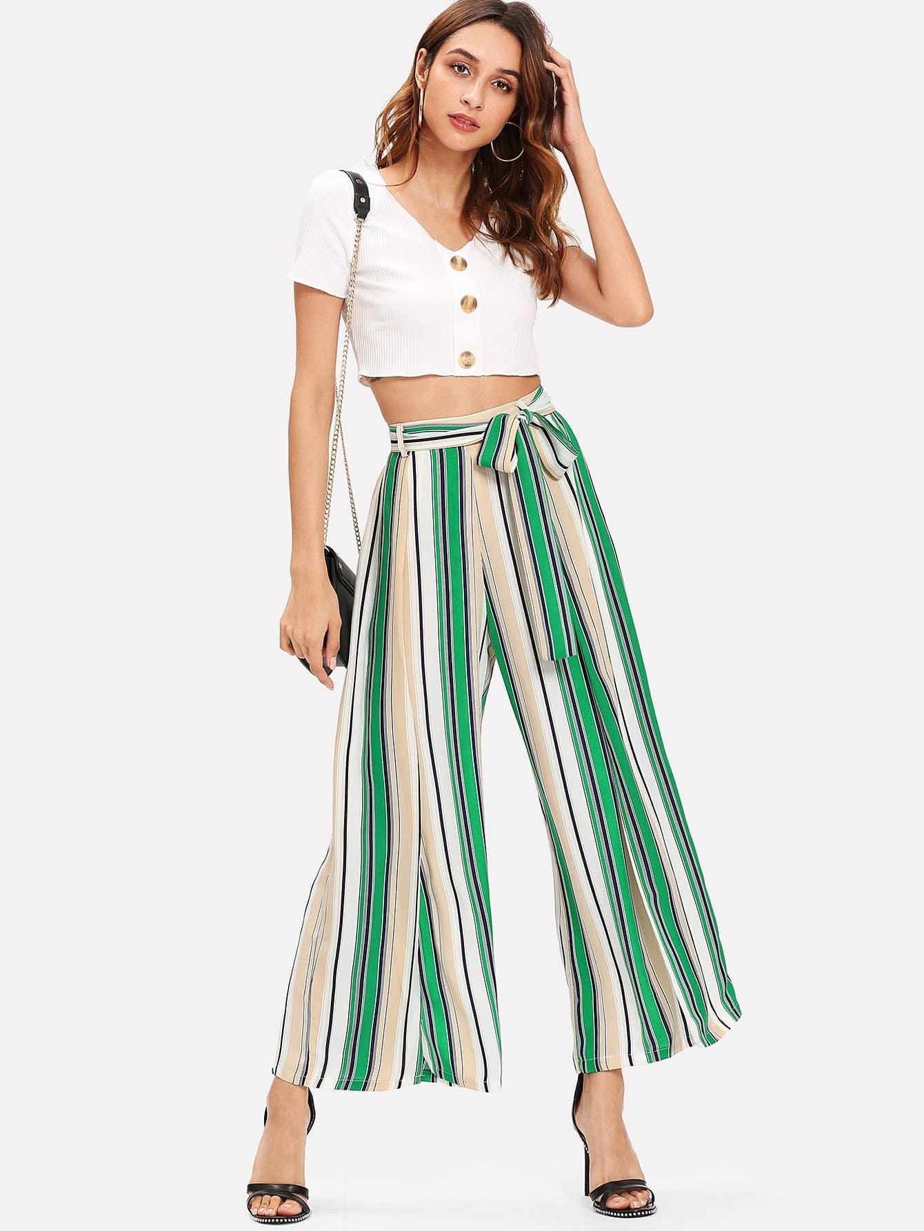Купить Полосатые брюки с поясом, Gabi B, SheIn